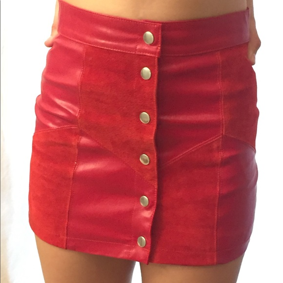 exquisite style Buy Authentic choose genuine red leather A-line skirt forever 21